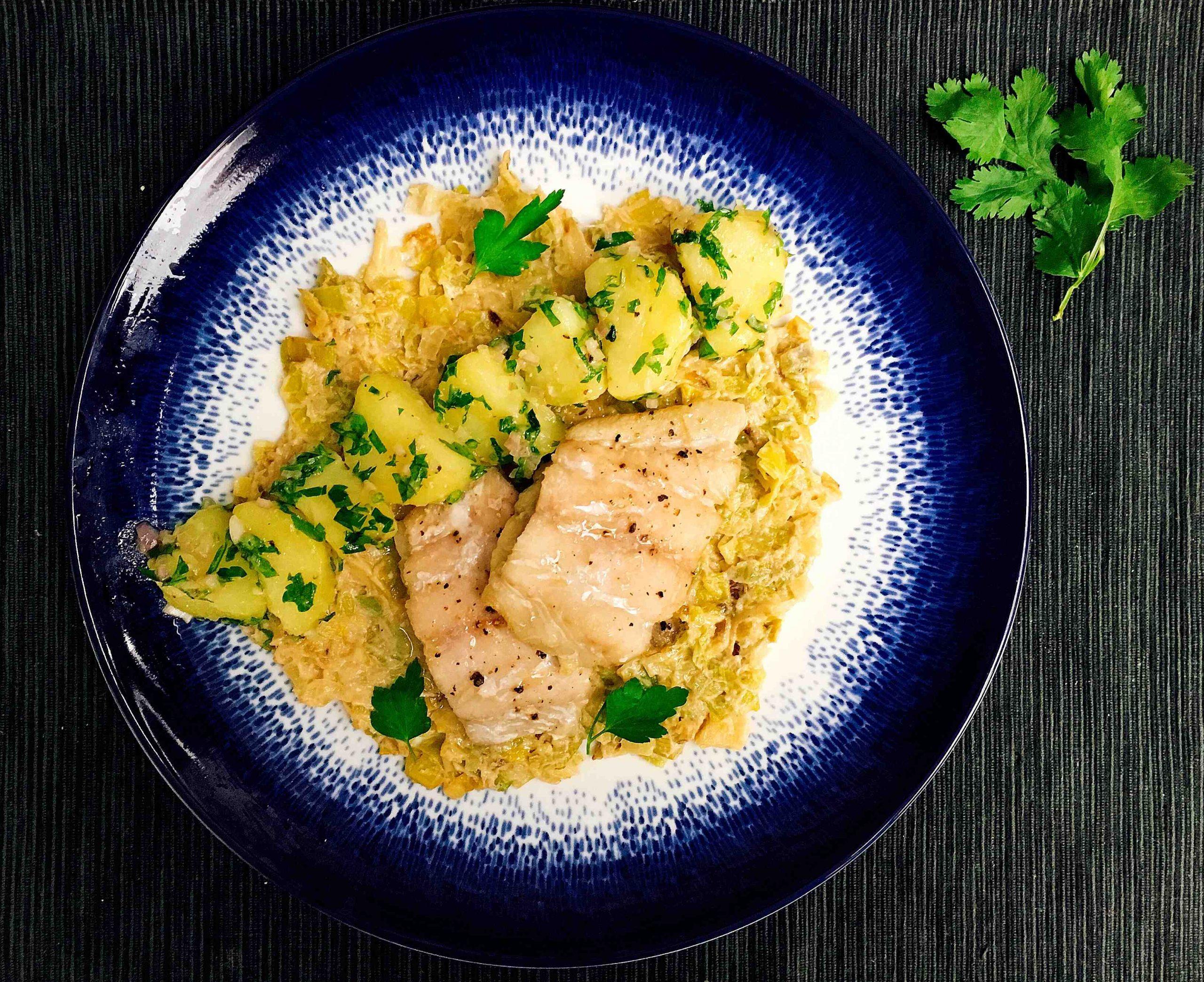 Recette I-Lunch : Lieu noir et tombée de poireaux pommes de terre pour 4
