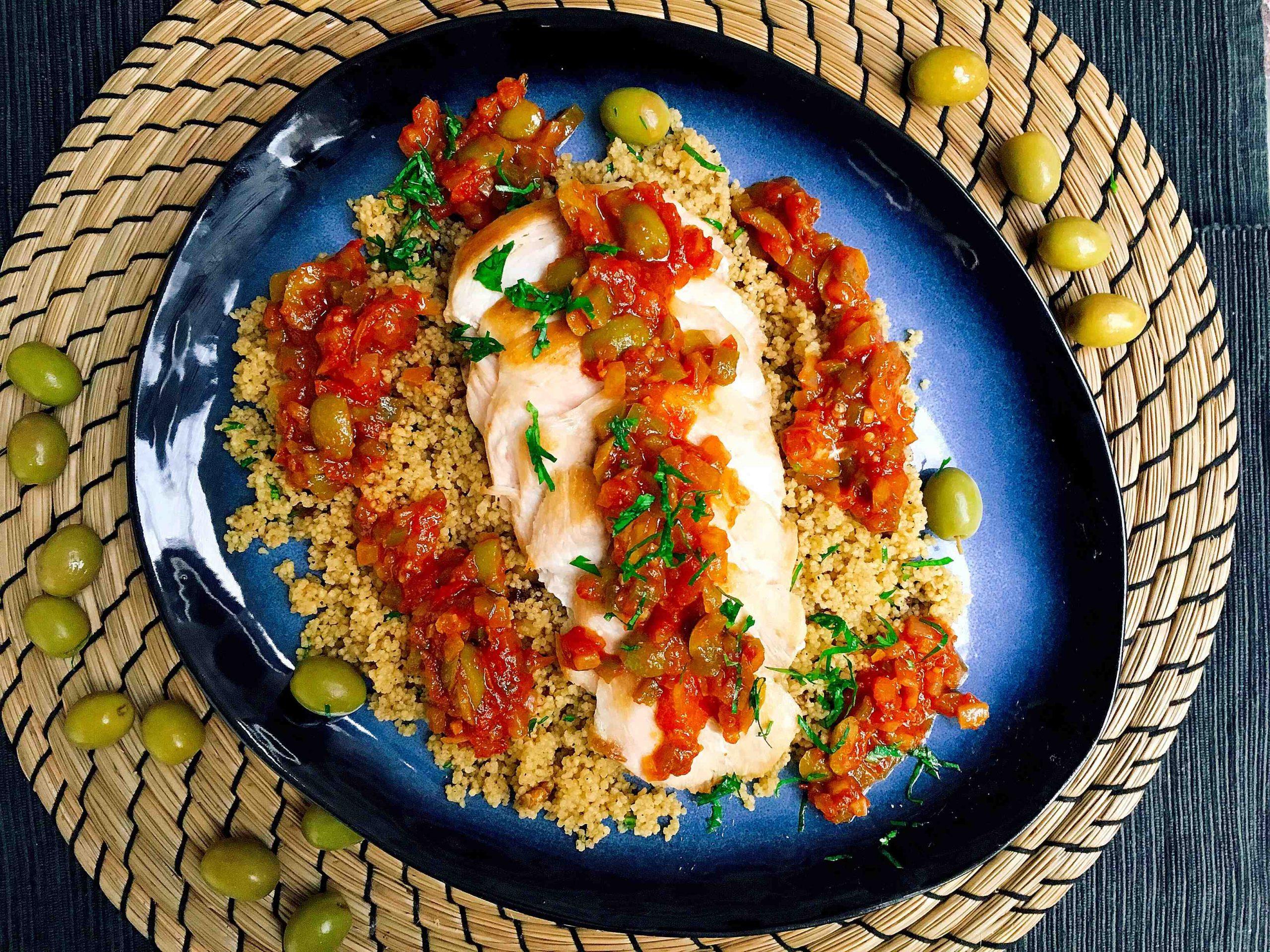 Recette I-Lunch : Poulet olives semoule pour 2