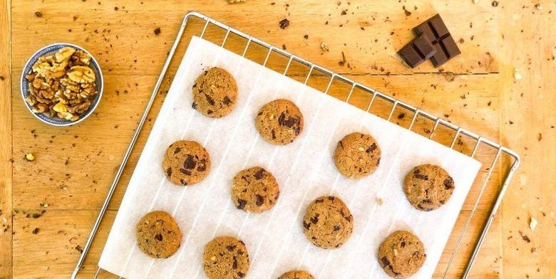 Cookies sans farine (et sans beurre) au chocolat & aux noix
