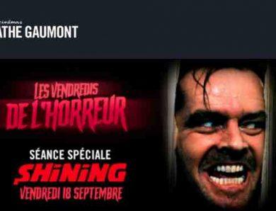 Les vendredis de l'horreur des cinémas Pathé-Gaumont invitent Shining le 18 septembre