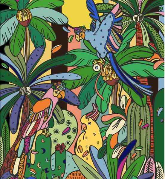 La jungle colorée de l'artiste Leona Rose s'installe chez Levi's® au Printemps Haussmann à Paris telle une ode au voyage !