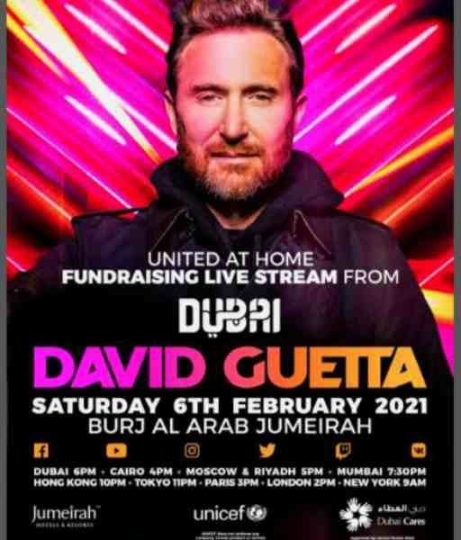 David Guetta en DJ set unique diffusé en direct depuis Dubaï le 06 février 2021